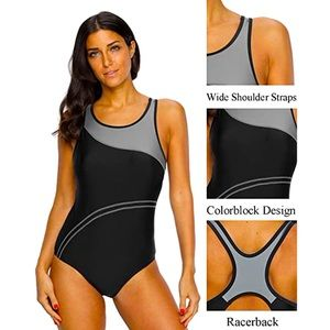 NEW Charmo One Piece Athletic Racerback Bathing Suit Color Block Swimsuit 50UPF